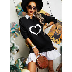 Print/Color Block/Heart Long Sleeves Shift Above Knee Casual Dresses