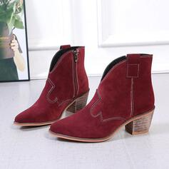 Women's Suede Chunky Heel Boots Pointed Toe With Zipper Solid Color shoes