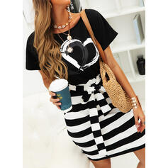 Print/Striped/Heart Short Sleeves Bodycon Knee Length Casual Pencil Dresses