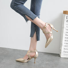 Women's PU Stiletto Heel Sandals Pumps Closed Toe With Hollow-out Elastic Band shoes