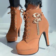 Women's PU Chunky Heel Ankle Boots Heels Round Toe With Rivet Zipper shoes