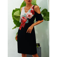 Print/Floral 1/2 Sleeves Sheath Above Knee Casual Dresses