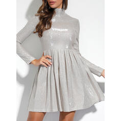 Solid Long Sleeves A-line Knee Length Party/Elegant Dresses