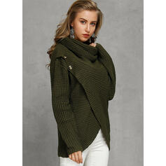 Solid Chunky knit Stand Collar Cardigan