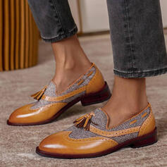 Women's PU Flat Heel Flats Loafers With Tassel Splice Color shoes