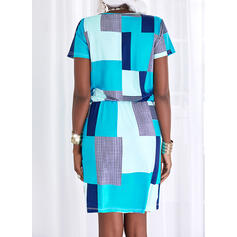 Color Block/Striped/Plaid Short Sleeves Sheath Above Knee Casual Dresses