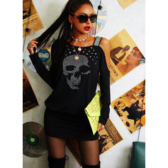 Print/Sequins Long Sleeves Bodycon Above Knee Casual Dresses