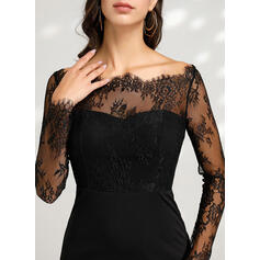 Lace/Solid Long Sleeves Sheath Above Knee Little Black/Sexy/Party Dresses