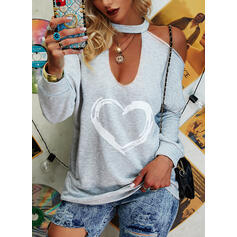 Print Heart Cold Shoulder Long Sleeves Casual Sexy Blouses