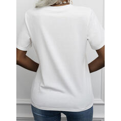 Print Sequins Letter Round Neck Short Sleeves T-shirts