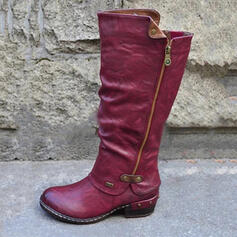 Women's PU Chunky Heel Riding Boots Round Toe With Zipper Splice Color shoes