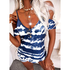 Tie Dye Cold Shoulder Short Sleeves Casual Blouses