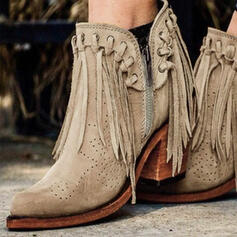 Women's Chunky Heel Ankle Boots Heels Pointed Toe With Zipper Tassel Solid Color shoes