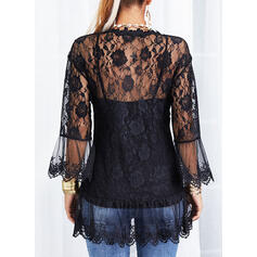 Solid Lace V-Neck Flare Sleeve 3/4 Sleeves Button Up Elegant Blouses