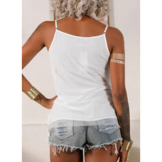 Solid Lace Spaghetti Strap Sleeveless Casual Tank Tops