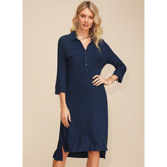 Solid 3/4 Sleeves Shift Asymmetrical Casual Tunic Dresses