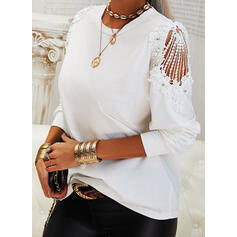 Solid Lace Beaded Round Neck Long Sleeves Elegant Blouses