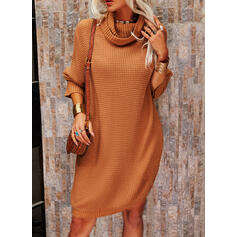 Solid High Neck Casual Long Sweater Dress