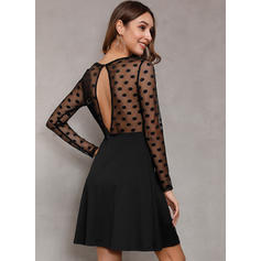 Solid/PolkaDot Long Sleeves A-line Above Knee Little Black/Sexy/Party Skater Dresses