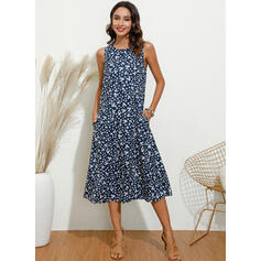 Print Sleeveless Shift Tank Casual Midi Dresses