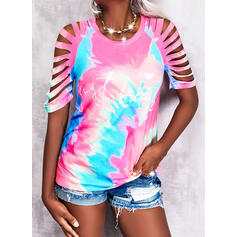 Print Tie Dye Heart Letter Cold Shoulder Short Sleeves Casual Blouses
