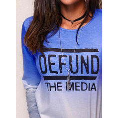 Figure Gradient Print Round Neck Long Sleeves T-shirts