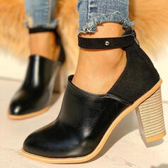 Women's PU Chunky Heel Boots Low Top Heels Round Toe With Rivet Solid Color shoes