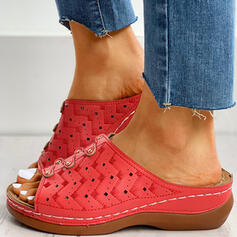 Women's Plastics Flat Heel Peep Toe Slippers With Rivet Hollow-out shoes
