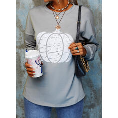 Halloween Print Round Neck Long Sleeves Casual Blouses