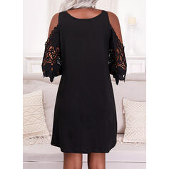 Solid Lace 1/2 Sleeves Cold Shoulder Sleeve Shift Above Knee Little Black/Casual Tunic Dresses