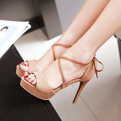 Women's Suede Stiletto Heel Sandals Platform With Lace-up shoes
