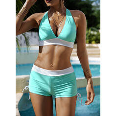Solid Color High Waist Halter Sexy Sports Bikinis Swimsuits