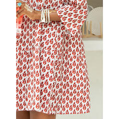 Print Long Sleeves/Flare Sleeves Shift Above Knee Casual/Vacation Tunic Dresses