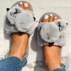 Women's Velvet Flat Heel Sandals Peep Toe Slippers With Faux-Fur shoes