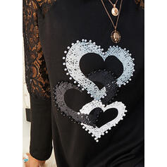 Print Lace Heart Round Neck Long Sleeves Casual Elegant Blouses