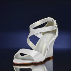 Women's Silk Like Satin Wedge Heel Sandals Wedges