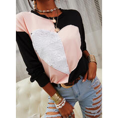 Color Block Heart Sequins Round Neck Long Sleeves T-shirts