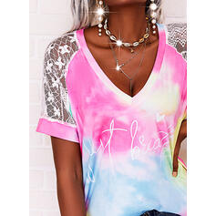 Print Lace Tie Dye Heart Letter V-Neck Short Sleeves Casual Blouses