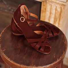 PU Flat Heel Sandals Flats With Buckle Braided Strap shoes