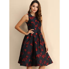 Print/Floral Sleeveless A-line Knee Length Party Skater Dresses