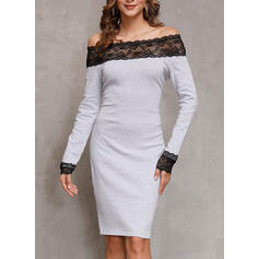 Lace/Solid Long Sleeves Bodycon Above Knee Little Black/Casual/Elegant Dresses