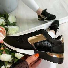 Women's PU Flat Heel Flats Sneakers With Zipper Lace-up Splice Color shoes