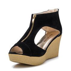 Women's Suede Wedge Heel Sandals Pumps Platform Wedges Peep Toe With Zipper shoes