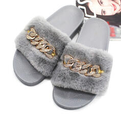 Women's Velvet Flat Heel Sandals With Rhinestone Faux-Fur shoes