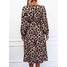 Leopard Long Sleeves A-line Wrap/Skater Casual Midi Dresses