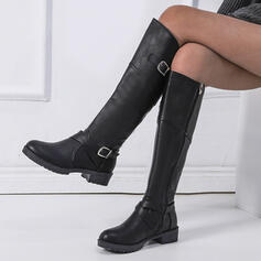 Women's PU Chunky Heel Riding Boots Round Toe With Buckle Zipper shoes