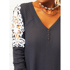 Lace V-Neck Long Sleeves Button Up Casual Knit Blouses