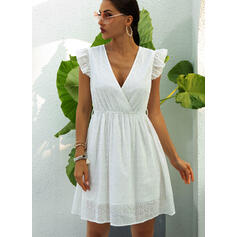 Solid Cap Sleeve A-line Above Knee Casual Dresses
