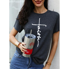 Print Knit Round Neck Short Sleeves Casual Blouses