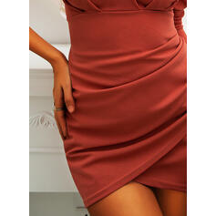 Solid Long Sleeves/Puff Sleeves Bodycon Above Knee Casual Dresses